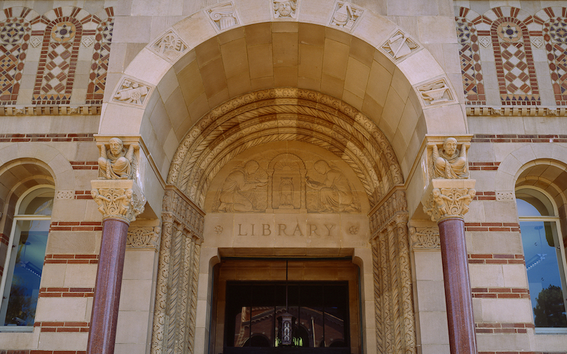 Entrance of UCLA Powell Library